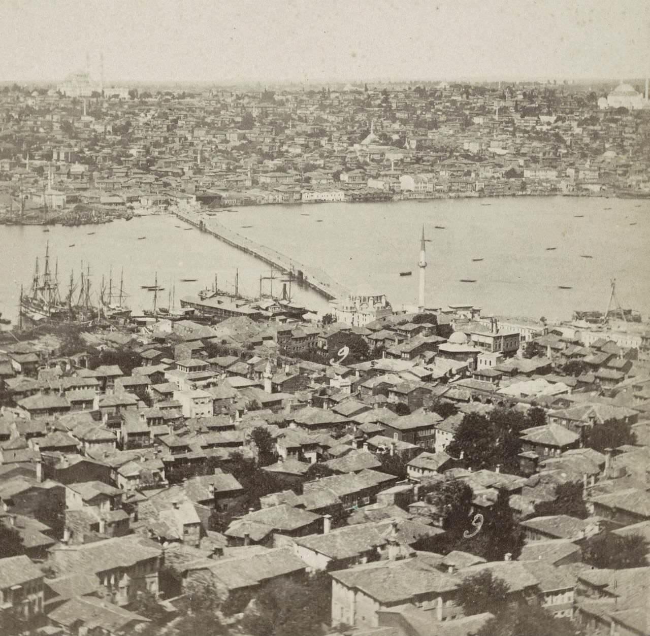 1860'larda bir Sophus&Williams fotoğrafında Hayratiye Köprüsü